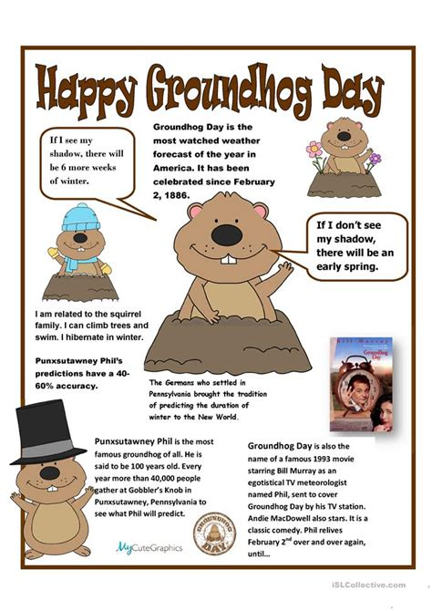 groundhog day information 8 free esl groundhog worksheets