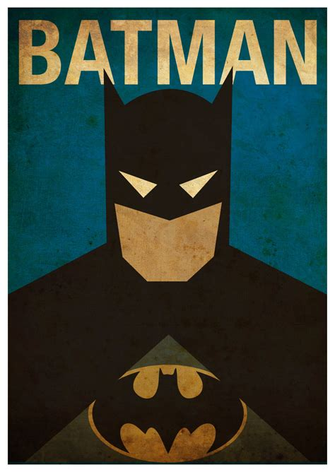 Printable Batman Poster | cool set of superhero minimalist posters sci fi design