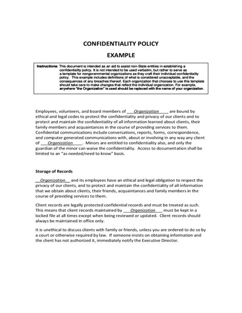 confidentiality policy template confidentiality policy exle free