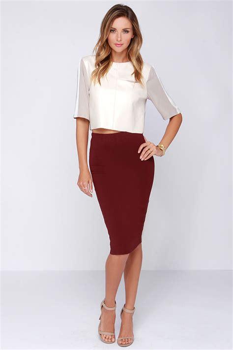 lovely burgundy skirt midi skirt bodycon skirt 43 00