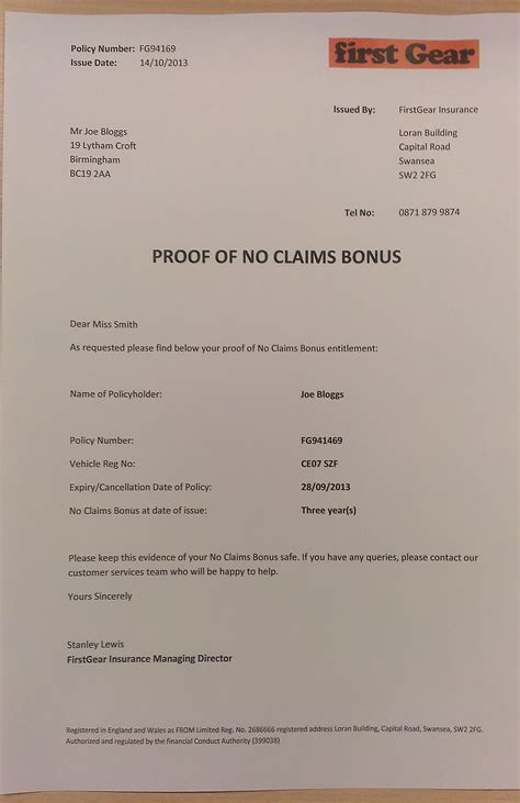 Proof Of Claim Letter No Claims Bonus Ncb Archives Premium Choice