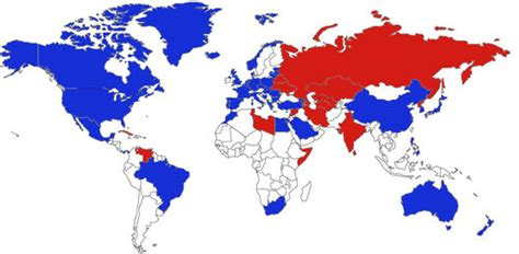 map us allies who would be the allies of the usa and russia in on