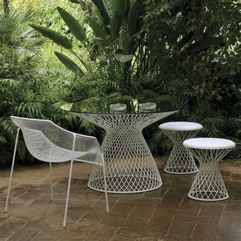 outdoor mesh furniture emu metal mesh glass outdoor dining table contemporary
