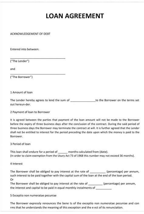 Template Standard Loan Agreement Template Simple Loan Agreement Template Word