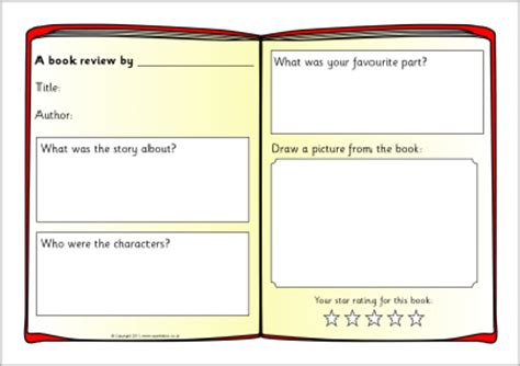book template ks1 book reviews uk