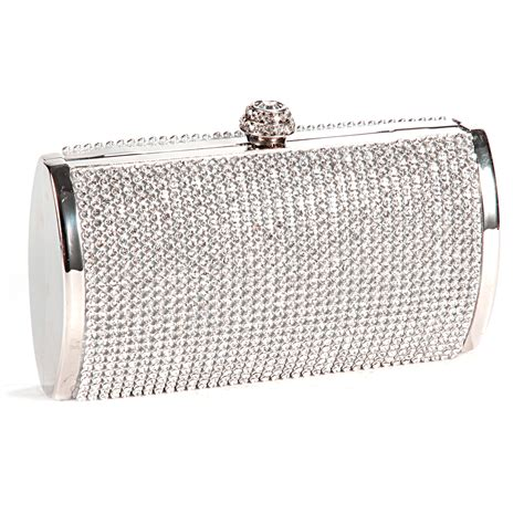 Clutch Bag silver sparkly diamante evening clutch bag wedding
