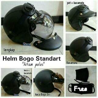 Helm Bogo Retro Sni Hitam Polos diskon helm bogo polos helm retro kulit sni terbaru helm