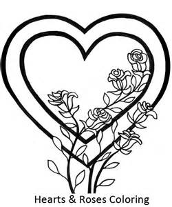 awesome picture of hearts and roses coloring page awesome