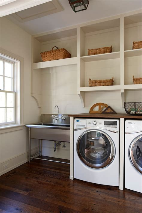 Cottage Laundry Room Ideas by Reclaimed Oak Countertop Cottage Laundry Room