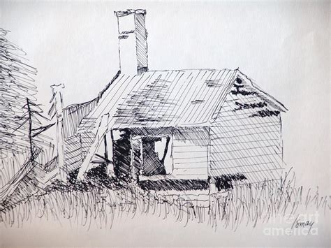 Shed Drawing by Shed Drawing By Rod Ismay