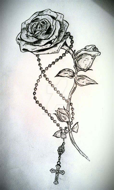 rose with cross tattoo black and grey with rosary cross design by