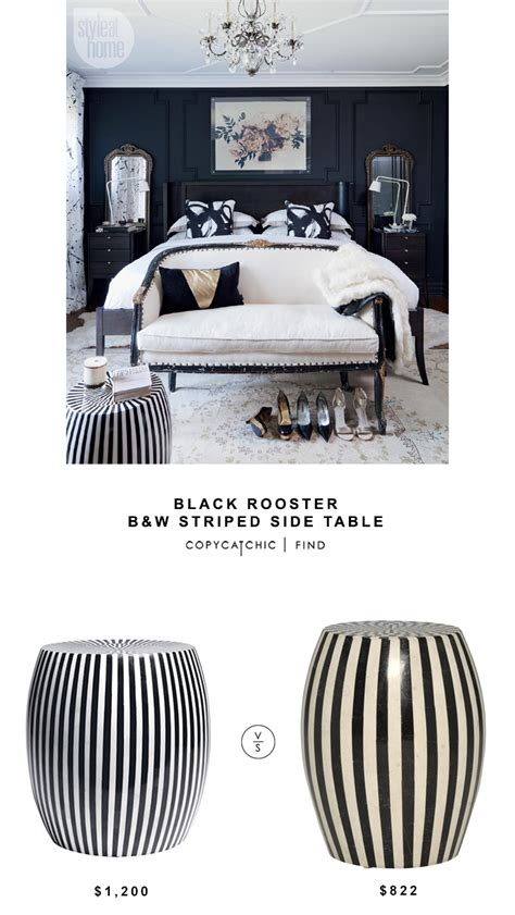 black and white side table black rooster black and white striped side table copycatchic
