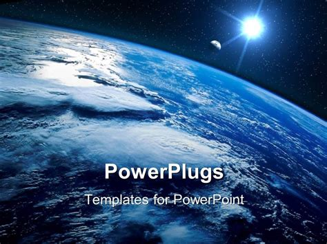 Powerpoint Template Sight Of Earth From The Space And Planet Shining With Stars 23584 Microsoft Powerpoint Templates Space