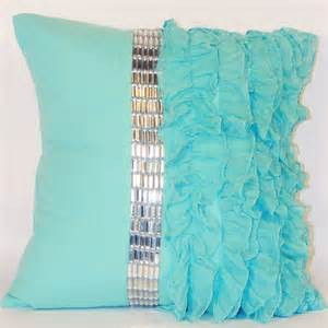 turquoise bed pillows turquoise jewel and chiffon ruffle throw pillow modern