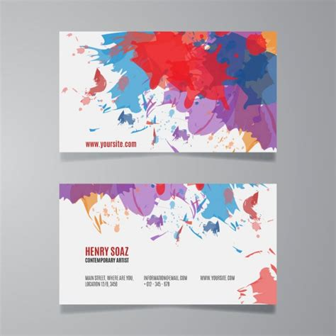 Free Business Card Templates Artwork by Splash Paint Business Card Template Vector Free