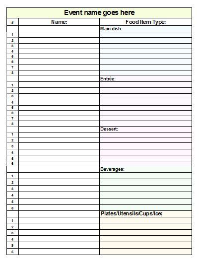 potluck spreadsheet template search results for printable potluck sign up sheet