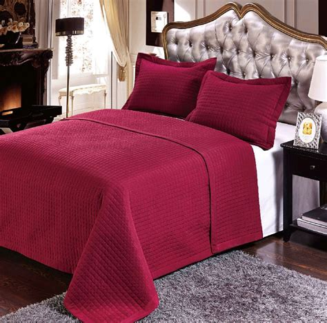 burgundy coverlet luxury checkered quilted wrinkle free microfiber 3 piece