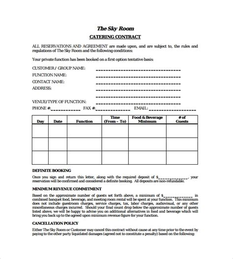 15 Sle Catering Contract Templates Pdf Word Apple Pages Sle Templates Catering Templates Free