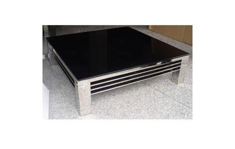 Charmant Table Basse Carree Verre #9: Table-basse-en-verre-noir-et-pieds-en-acier-inox-brillant-stella.jpg