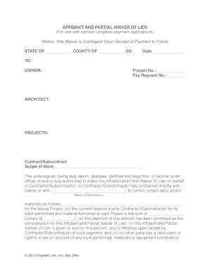partial lien waiver template affidavit partial lien fill printable fillable