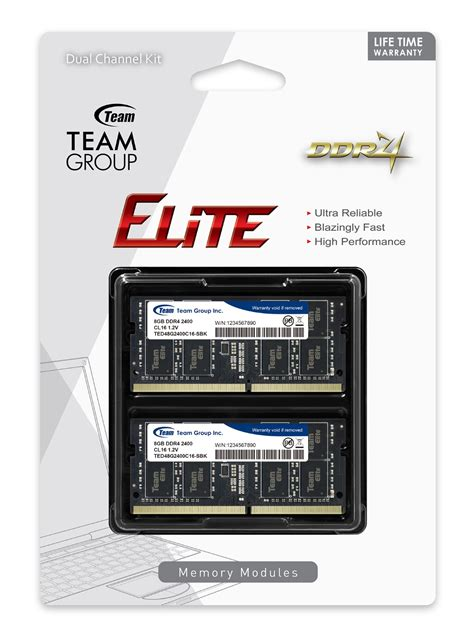 Team Elite 8gb Ddr4 Pc2400 So Dimm Ram Laptop 16gb team elite ddr4 so dimm 2400mhz pc4 19200 cl16 dual