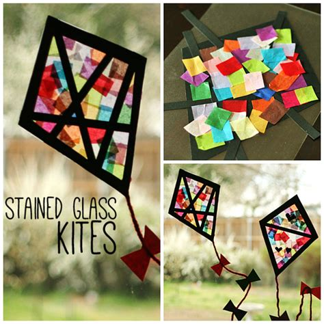 Paper Stained Glass Window Craft - colorful stained glass kites window display kites