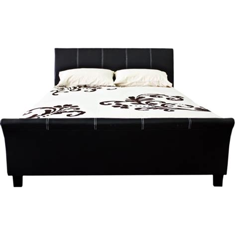 Black Sleigh Bed Frame King Size Pu Leather Sleigh Bed Frame In Black Buy King Size Bed Frame