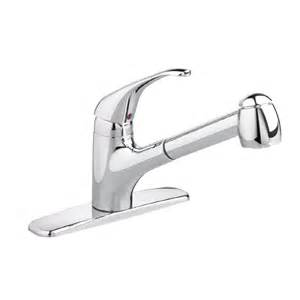 shop american standard reliant stainless steel 1 handle pull out kitchen faucet at lowes com