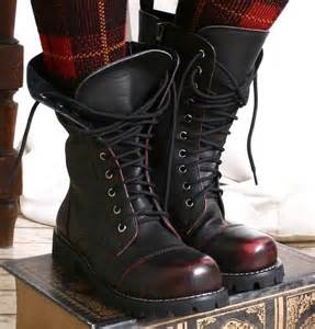 10 hole punk rock biker engineer vegan faux leather boots maroon