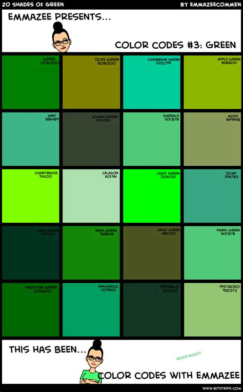 popular shades of green color chart green shades