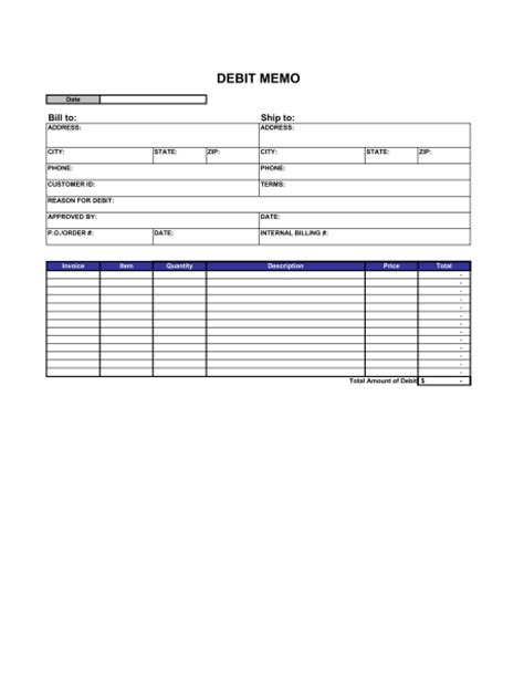 debit memo template sle form biztree com