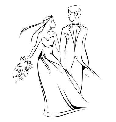 And Groom Outline Drawing by And Groom Clipart 3 And Groom Silhouette Image 2 Clipartix