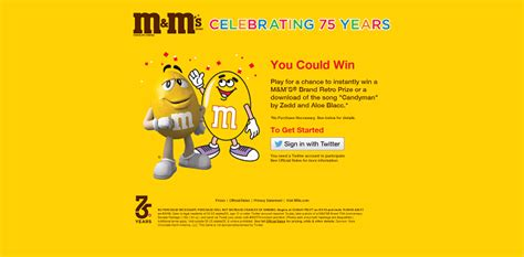 M M Sweepstakes - m m s brand is celebrating 75 years with a retro bag instant win game