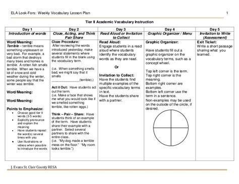 language lesson plan template vocabulary weekly plan template