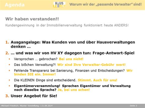 Firmenpräsentation Vorlagen Muster Pr 228 Sentation Hausverwaltung Vor Der Eigent 252 Merversammlung
