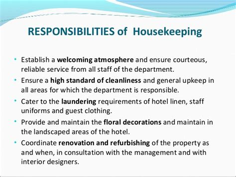 housekeeper duties and responsibilities madrat co