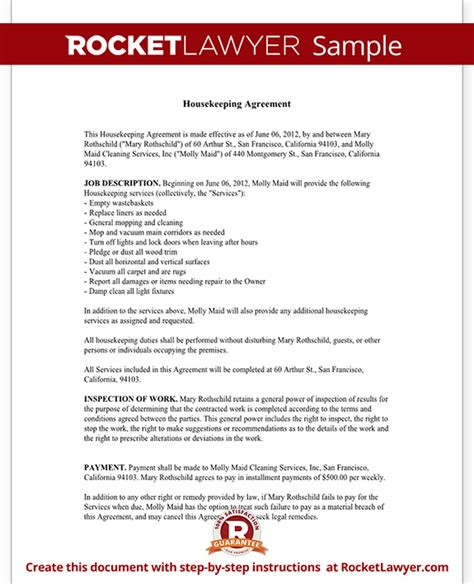 housekeeping contract agreement template with sle