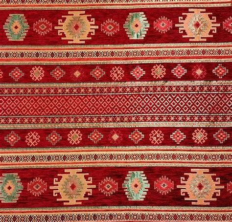 ethnic tribal style chenille upholstery fabric aztec