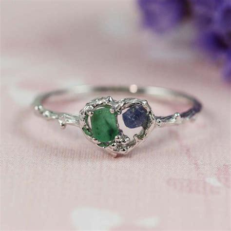 silver emerald blue sapphire ring tooriginal