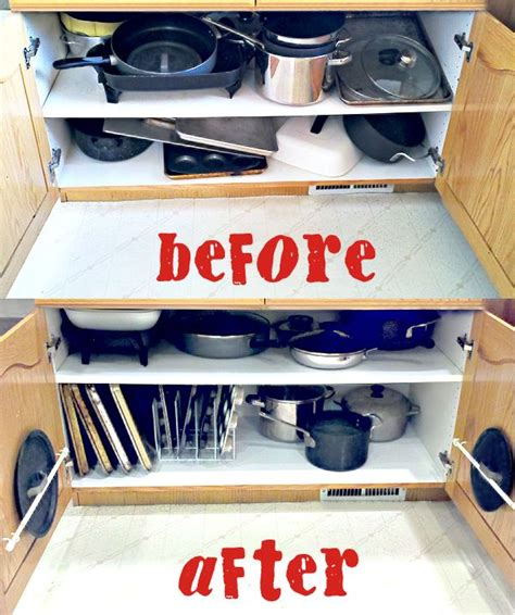 organizing the dreaded pots and pans cabinet