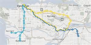 skytrain canada line map new skytrain routes millennium line will no longer run to