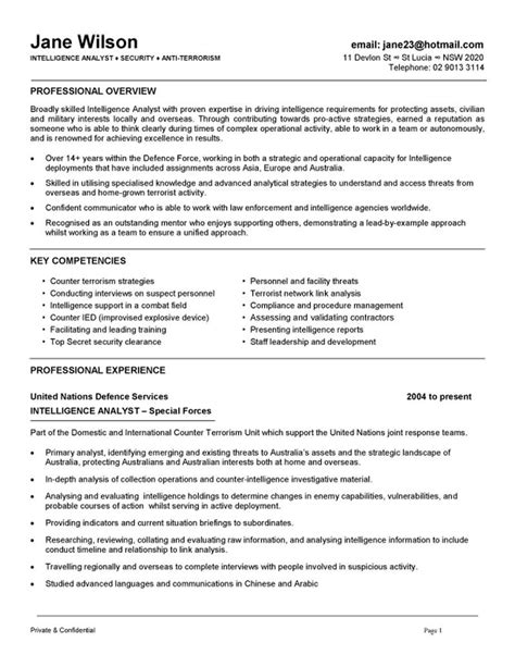 intelligence analyst cover letter intelligence analyst resume