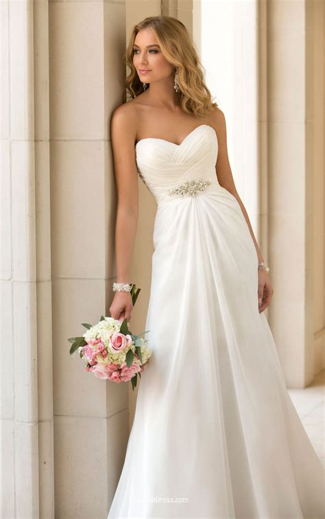 Strapless Wedding Dresses by A Line Strapless Sweetheart Stunning Ivory Chiffon Wedding