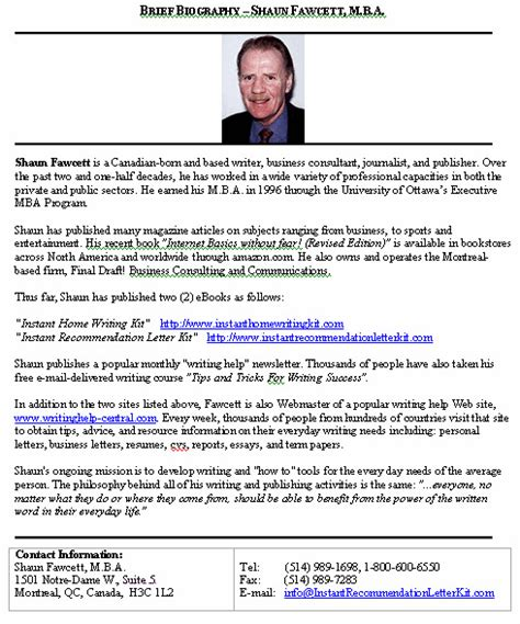 a biography layout biography brief sle format for a typical brief