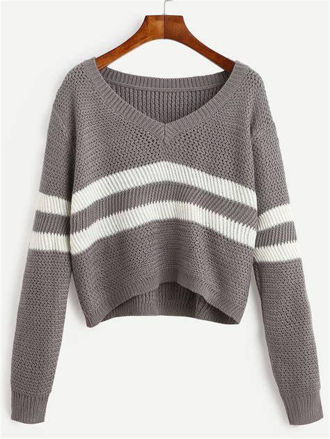 Sweater A striped v neck crop sweater shein sheinside