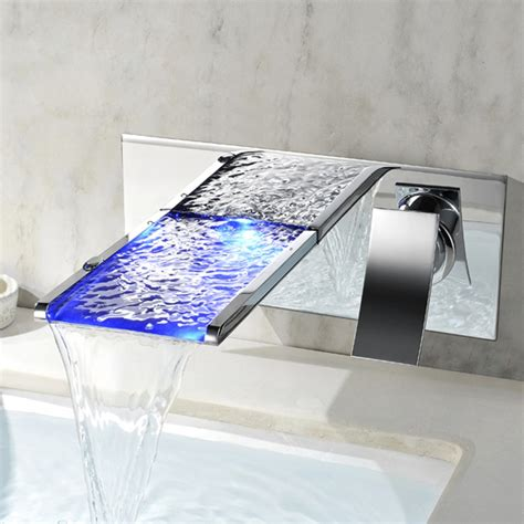 koko led waterfall wall mount bathtub filler faucet koko led wall mounted waterfall bathroom faucet