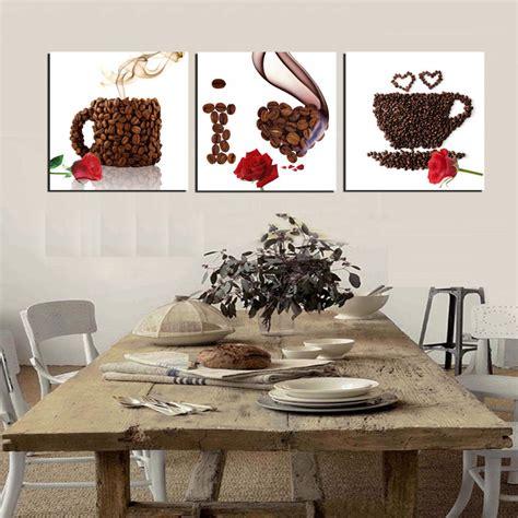 coffee home decor 3 piece canvas print wall art coffee painting beans mugs i