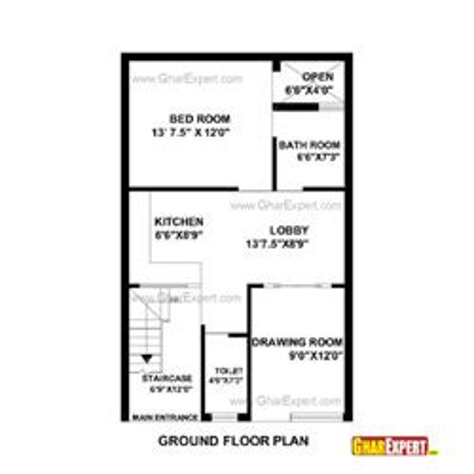 visualize square feet 22 by 35 plot house plans gharexpert com
