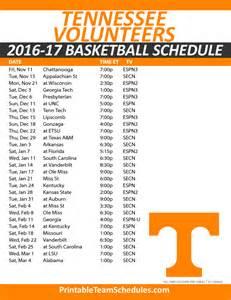 Ut Basketball Schedule Printable Tennessee Basketball Schedule 2016 17