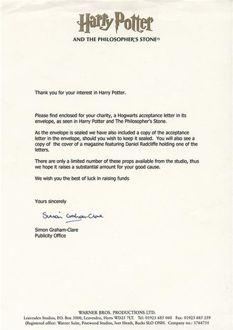 Harry Potter Acceptance Letter Size d radcliffe quot harry quot hogwarts acceptance letter from harry